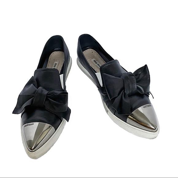 Miu Miu Leather Slip on Sneakers w Chrome Detail